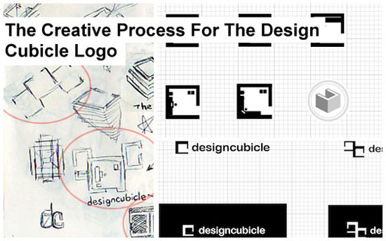 creative process of the design cubicle logo