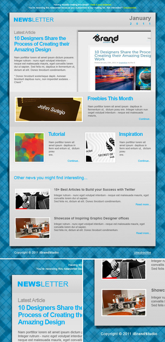Blogger Newsletter Template with Beautiful Textures