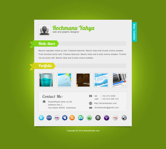 free elegant green one page vcard - psd template