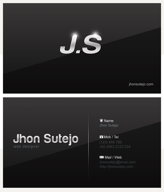 Freebie - Elegant Dark Business Card Template