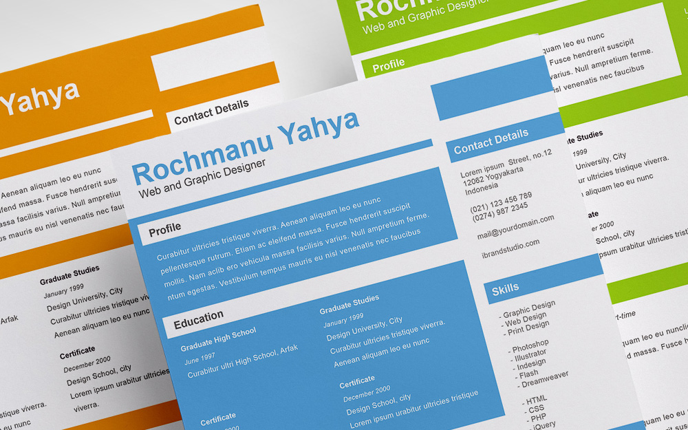 freebie clean one page resume psd template