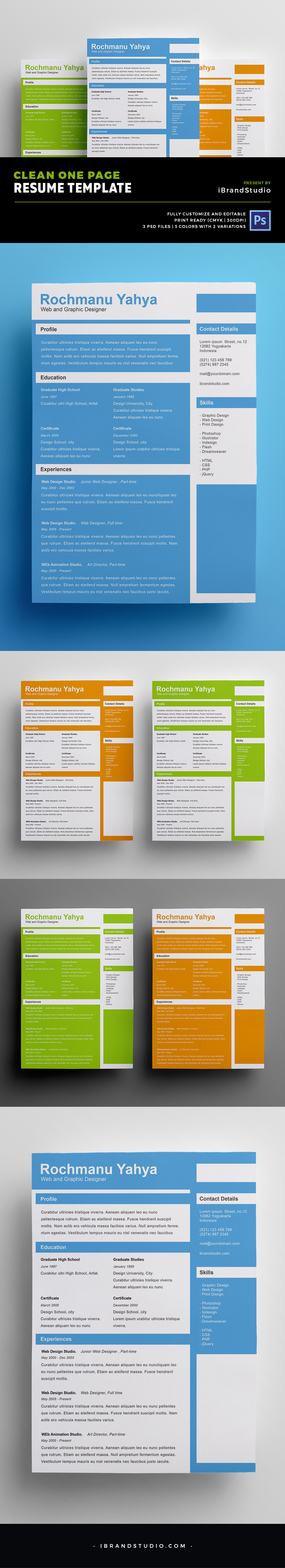 Free Clean One Page Resume PSD Template