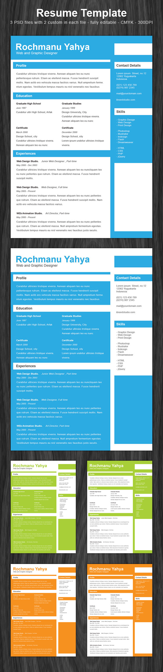 Freebie: Clean One Page Resume - PSD Template