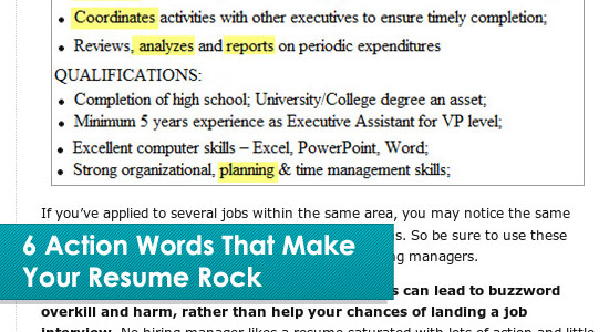 6 Action Words That Make Your Resume Rock · Resume Writing Tips