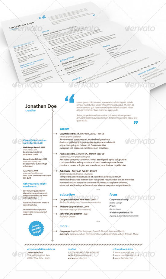 slick stylish resume indesign cs3 is a beautiful resume template