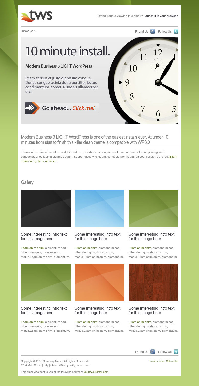 10 best email newsletter templates for your business for Modern email design