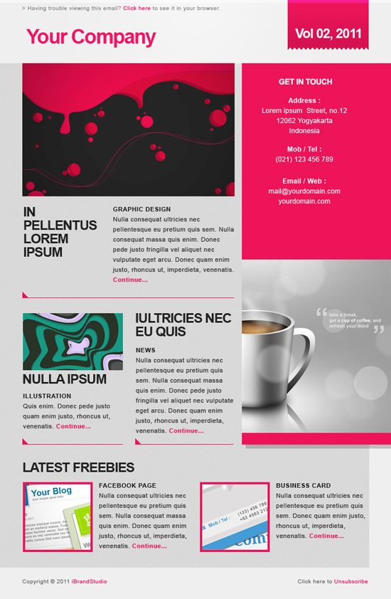 Freebie Elegant Pink Newsletter  Psd Template