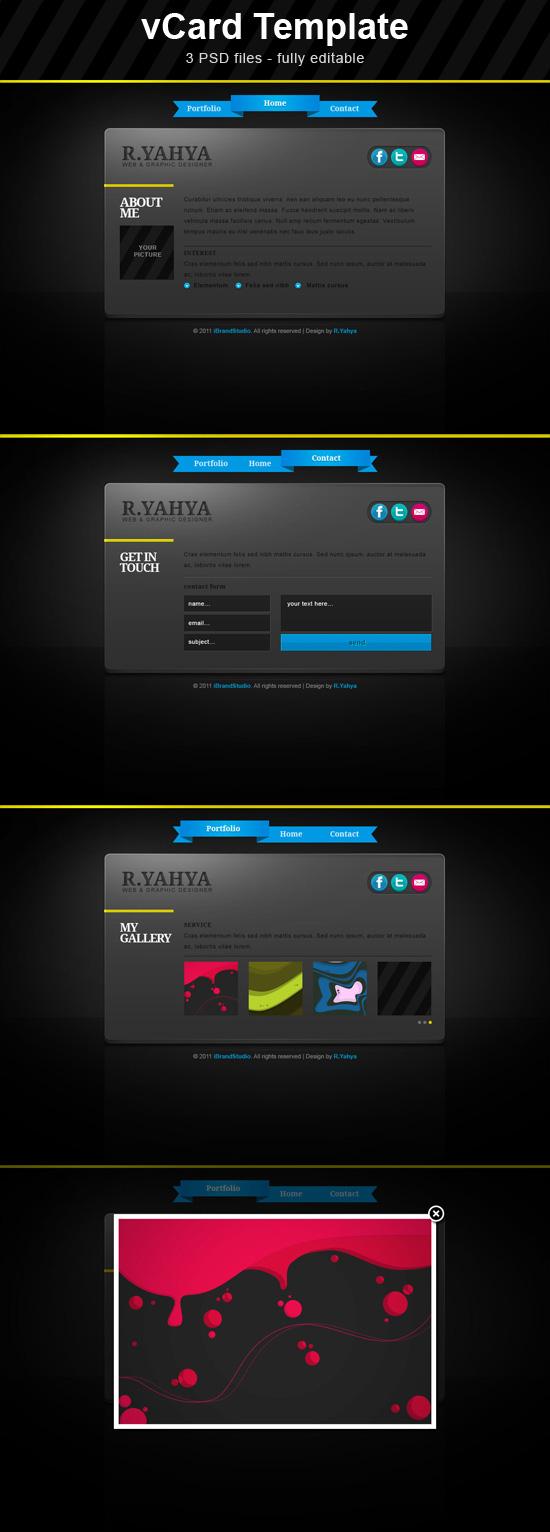 free elegant dark vcard theme in psd
