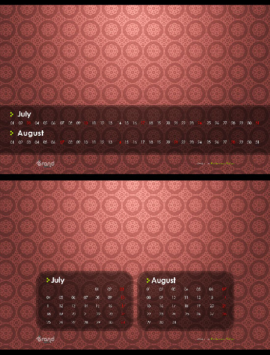 free desktop wallpaper calendar of July - August 2011