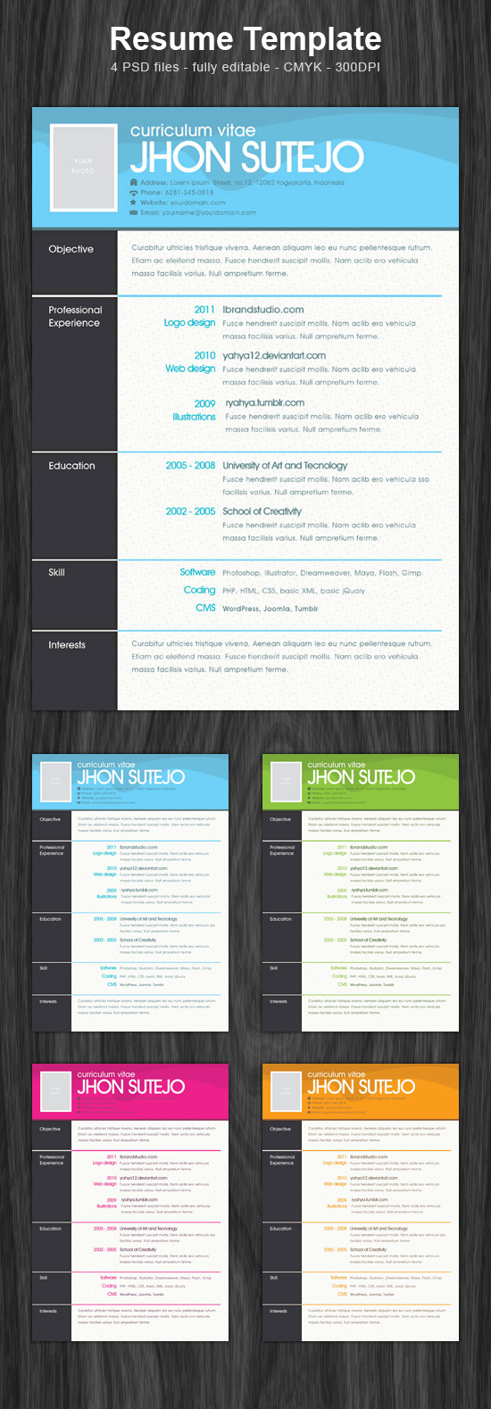 freebie one page pattern resume template psd