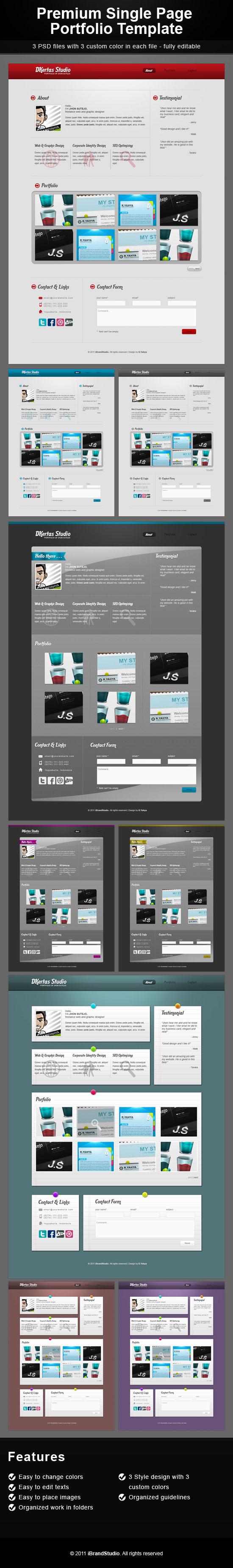 DKertas Single Page Portfolio PSD Template