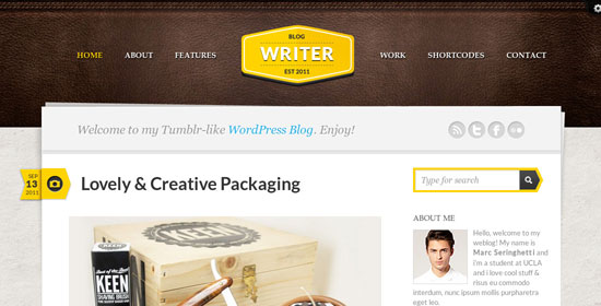 website templates for writers
