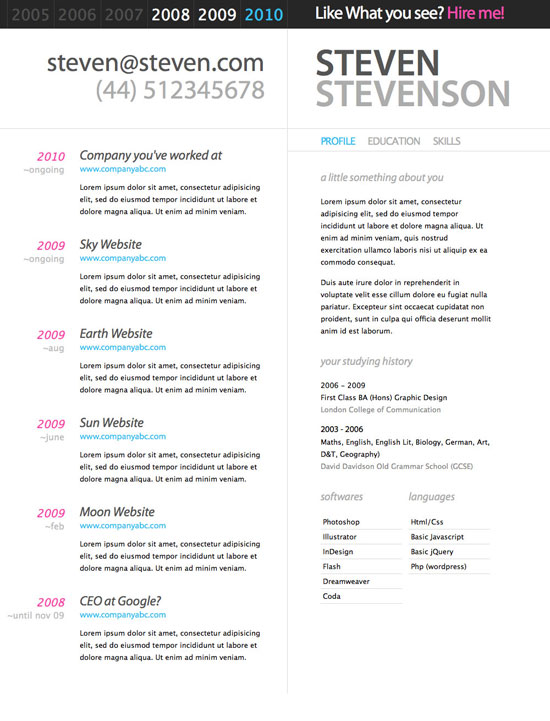 best resume cv template