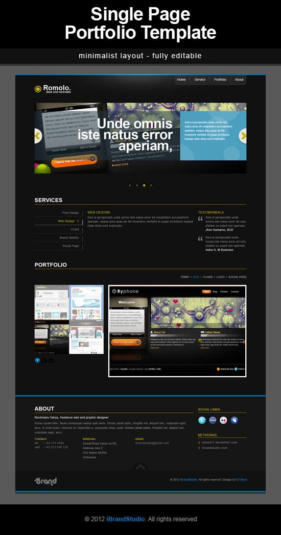 Free One Page Portfolio Template