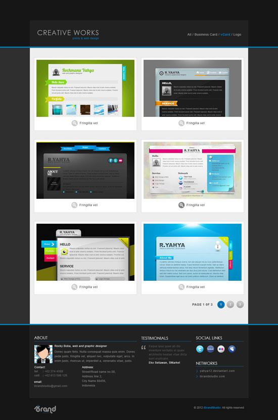 Free Portfolio Template: Creative Works Gallery - PSD