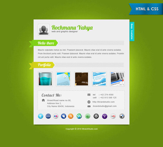 Free Html Template Elegant Green One Page Vcard