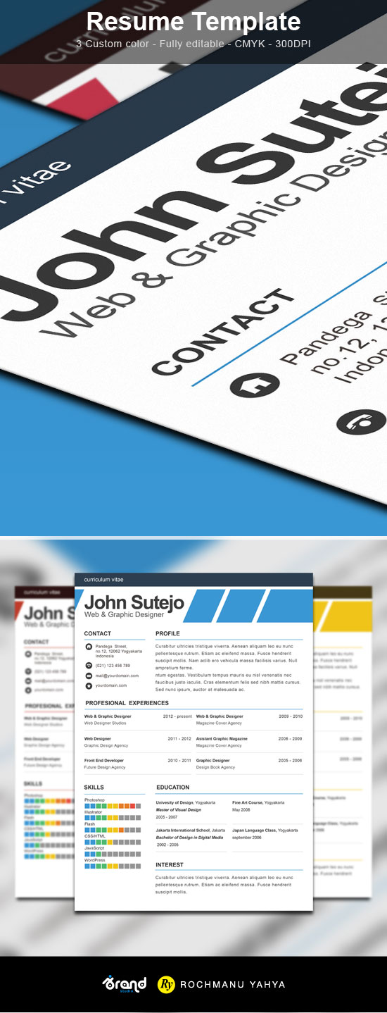 Free One Page Resume PSD Template