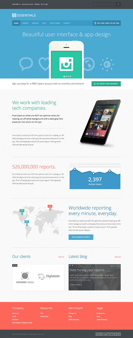 The Most Beautiful Flat Website Templates