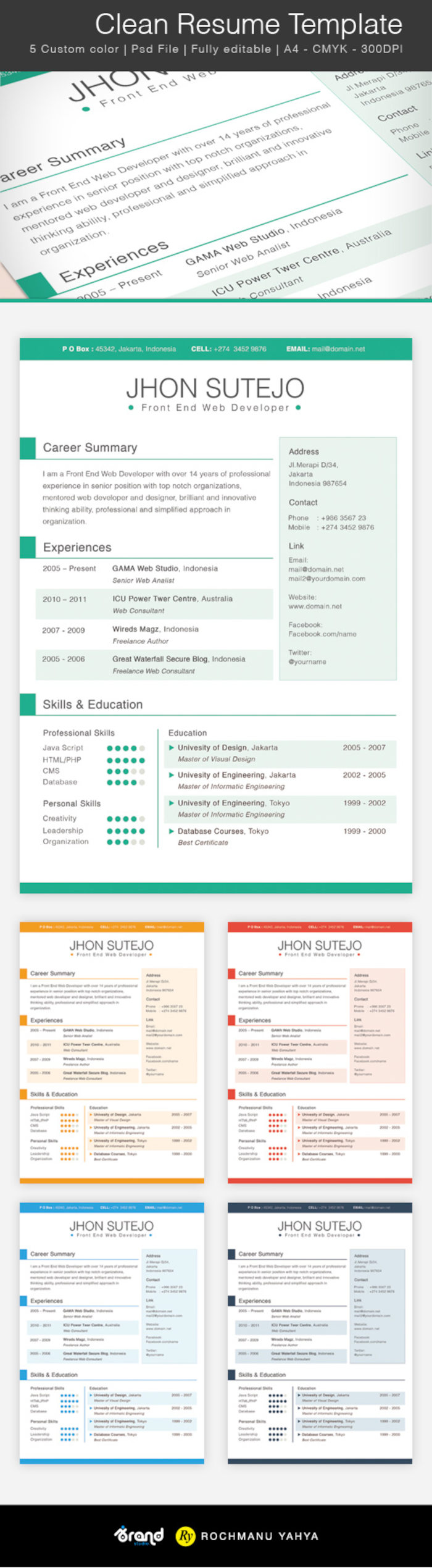 Free Clean One Page Resume Template (5 Colors)