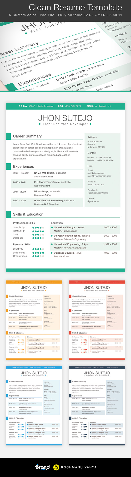 clean resume template colors resume