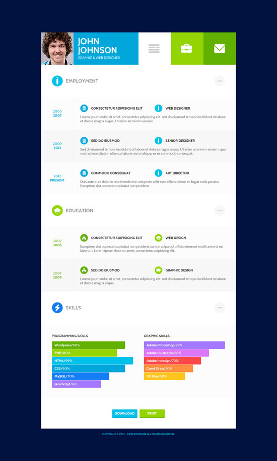 online resume templates - Wordpress Resume Template