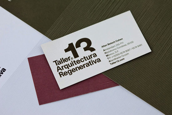 Taller 13 Regenerative Architecture. Architect Business Cards