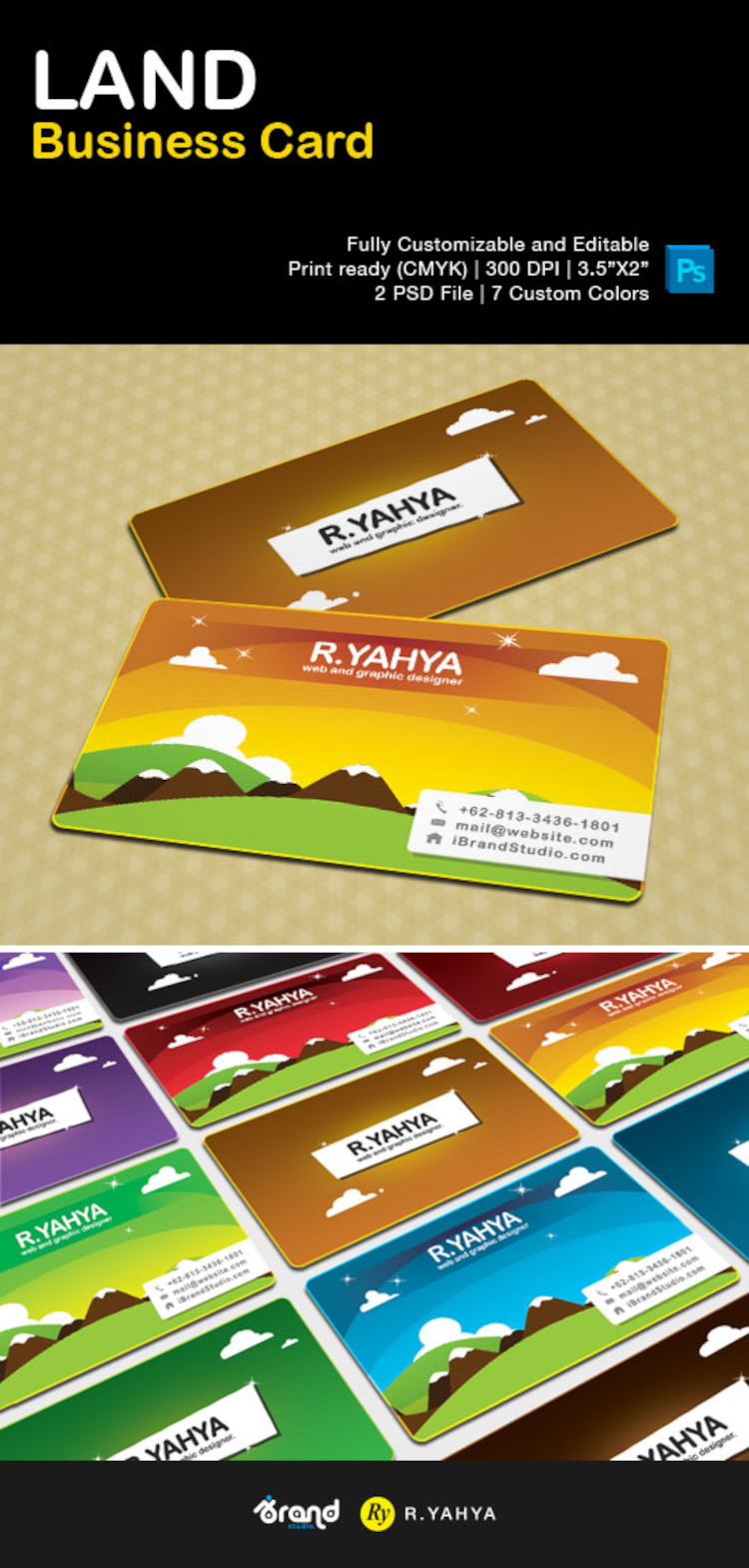Free LAND Business Card Template (7 Colors)