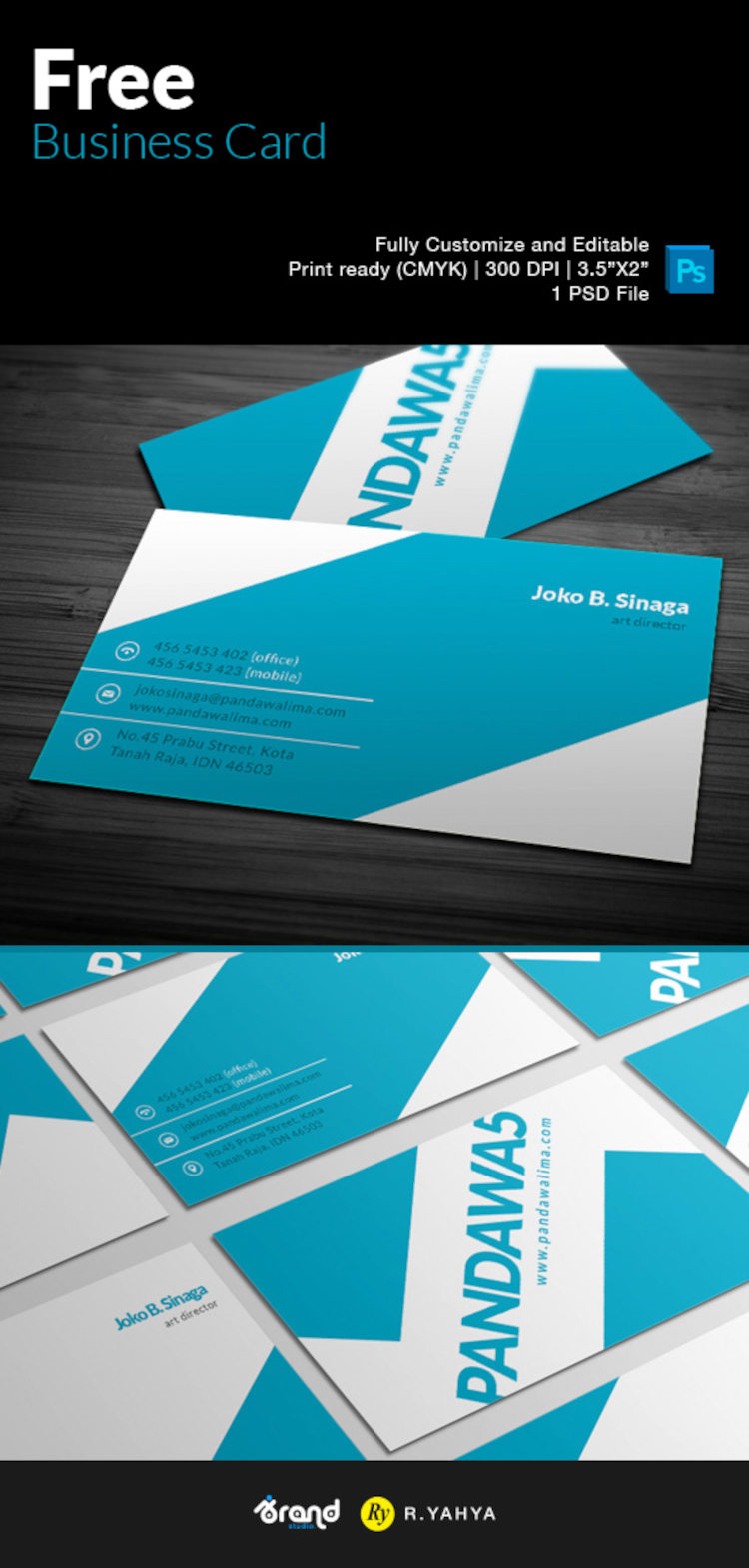 Free Elegant Blue Business Card Template