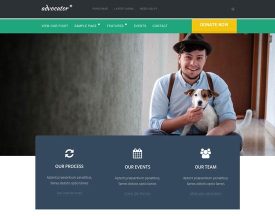 advocator professional nonprofit organizations best charity website templates