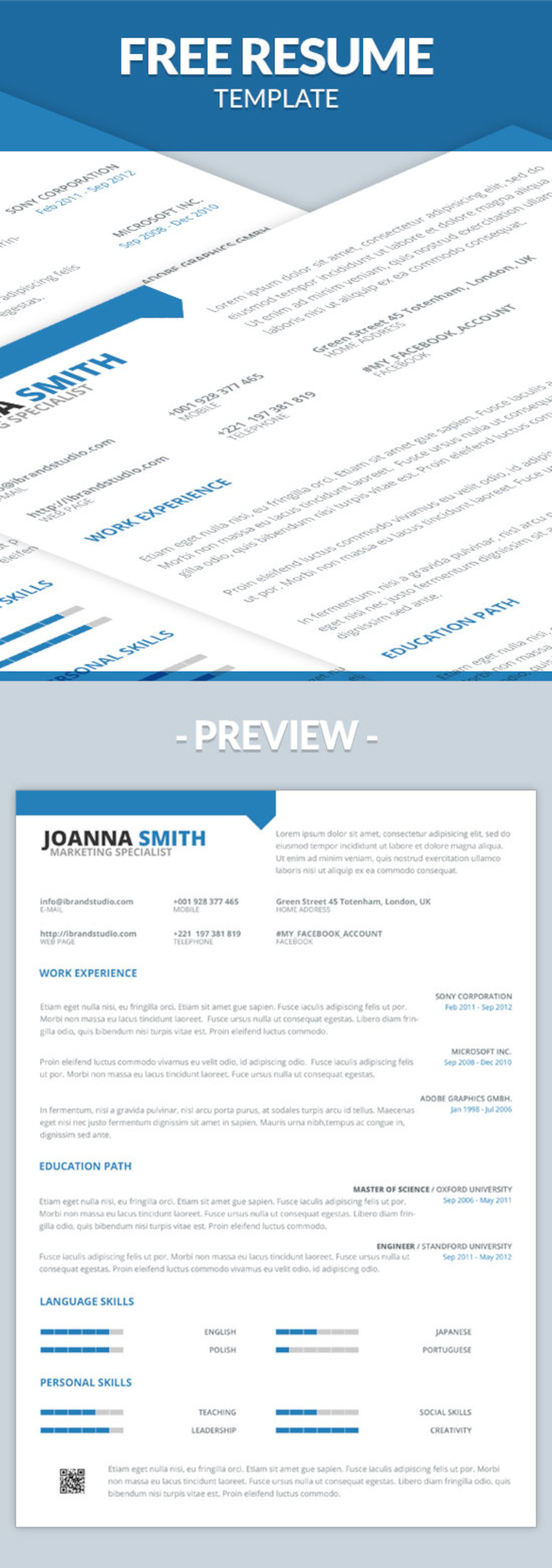 Free Minimal One Page Resume Template