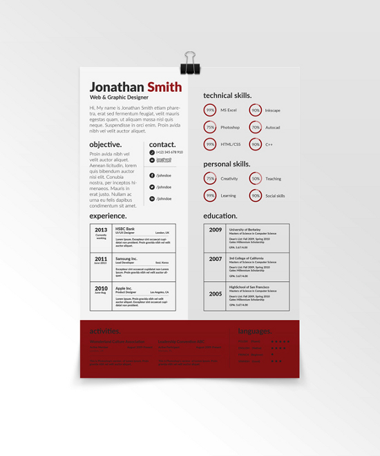 PSD Creative Resume Template Vol. 1. Free Resume Template