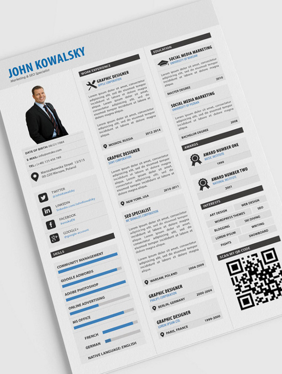 Original Cv Resume Template Download From Over 36 Million High