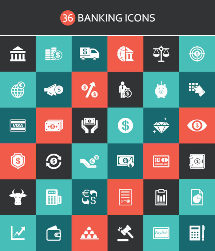Freebie: 36 Banking Icons from Vecteezy