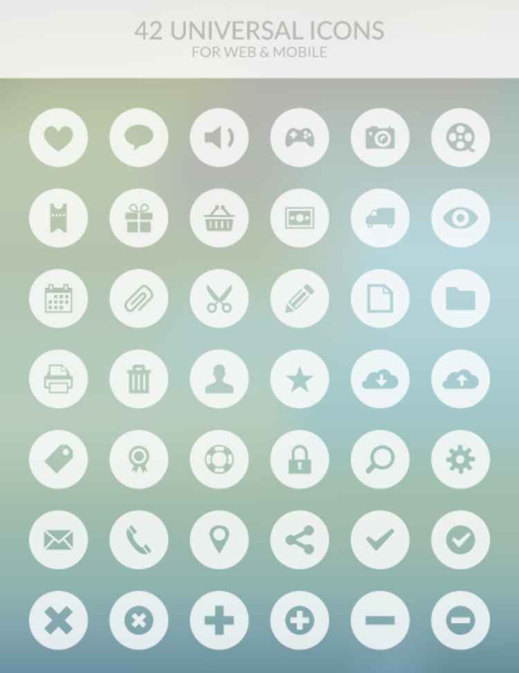 Freebie: 42 Universal Icons for Web and Mobile