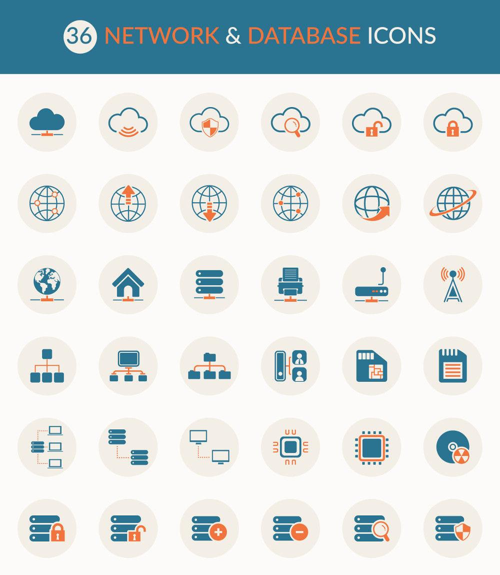 Freebie: 36 Network and Database Icons (Ai, EPS, PSD)