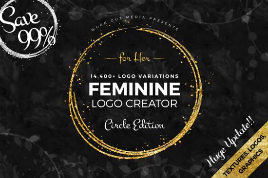 Feminine Logo Creator Circle Edition by Worn Out Media Co.
