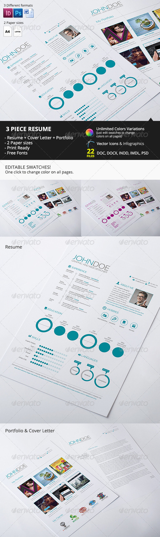 3 piece resume by heliosmedia infographic resume templates
