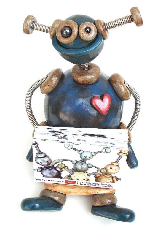 Big Blue Robot Holder