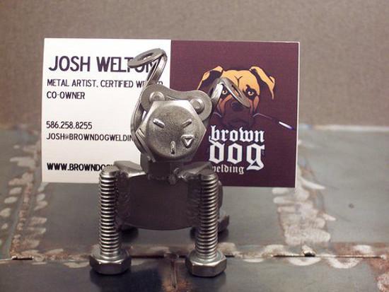 Metal Sculpture Card Holder