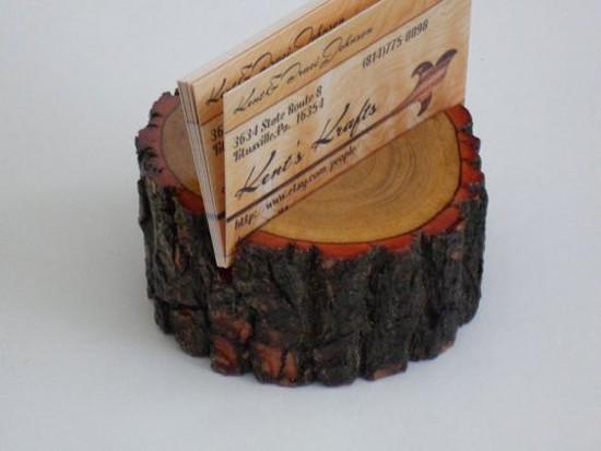 Wooden Live Edge Sassafras Business Card Holder