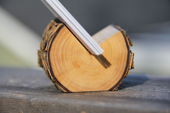 Elm natural wood business card holder