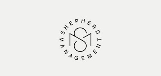 Diseño de monograma SM por diseñador independiente británico
