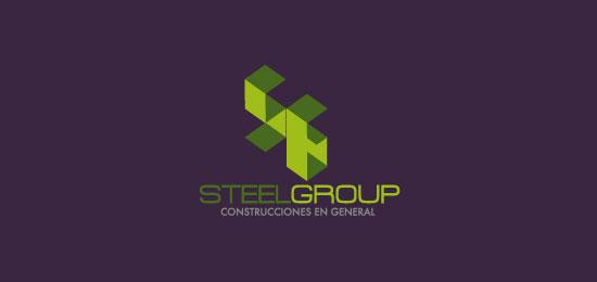 hemos recopilado los mejores y más creativos ejemplos de logotipos para empresas de construcción.  - Steel Group de Velcas