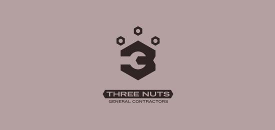 hemos recopilado los mejores y más creativos ejemplos de logotipos para empresas de construcción. - Contratistas generales de Three Nuts de atomicvibe