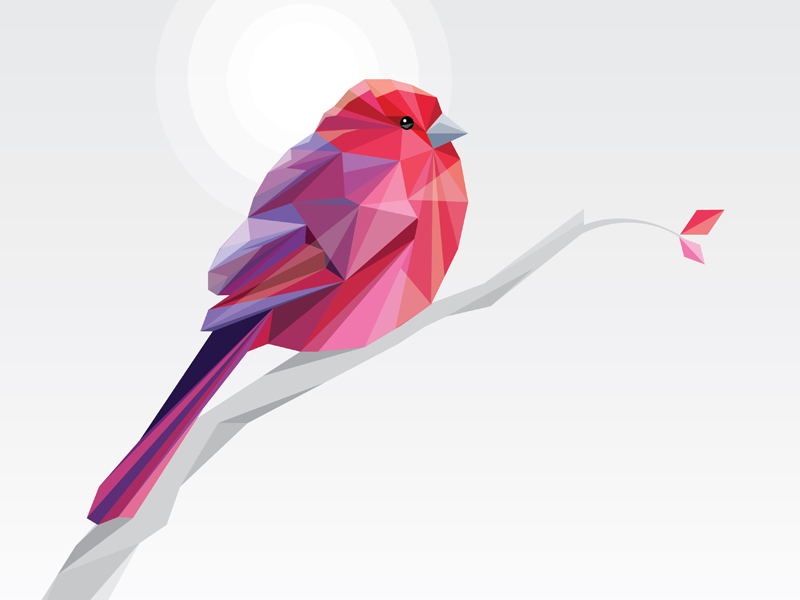 Low Polygon Pink Bird by Diana Hlevnjak