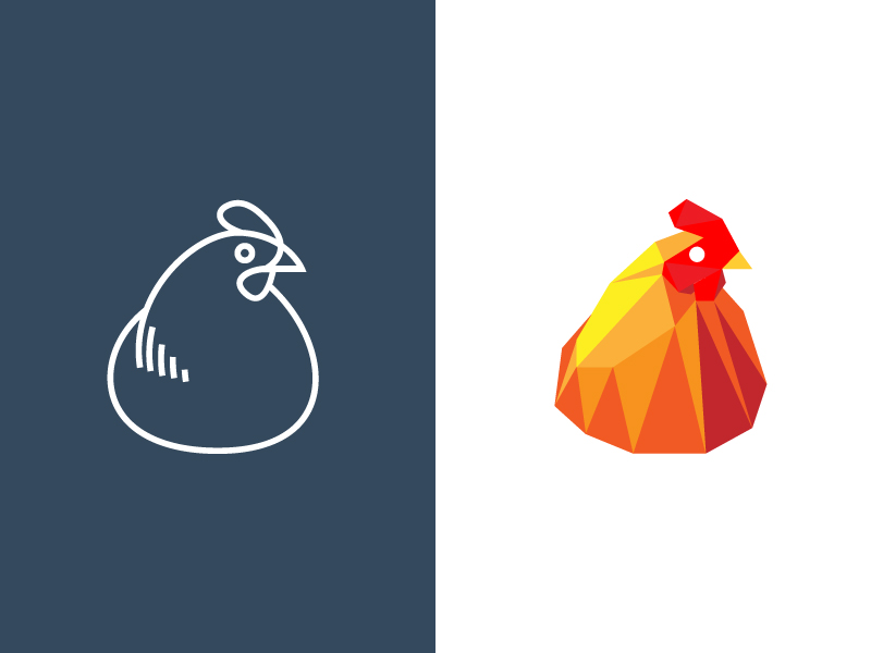 One hen, two logos by Sébastien Grégoire