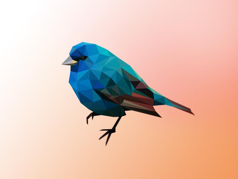 Blue poly bird by Breno Bitencourt