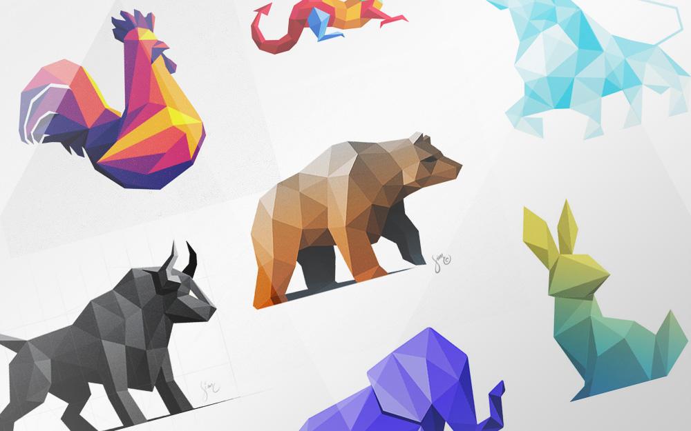 Polygon Design | Low Polygon Logo Designs 45 Amazing Animal Logos