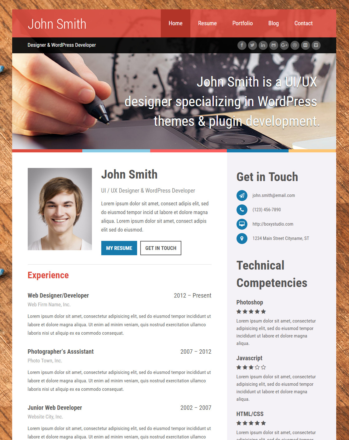 Self   A Powerful VCard Theme W/Resume Builder  Wordpress Resume Template