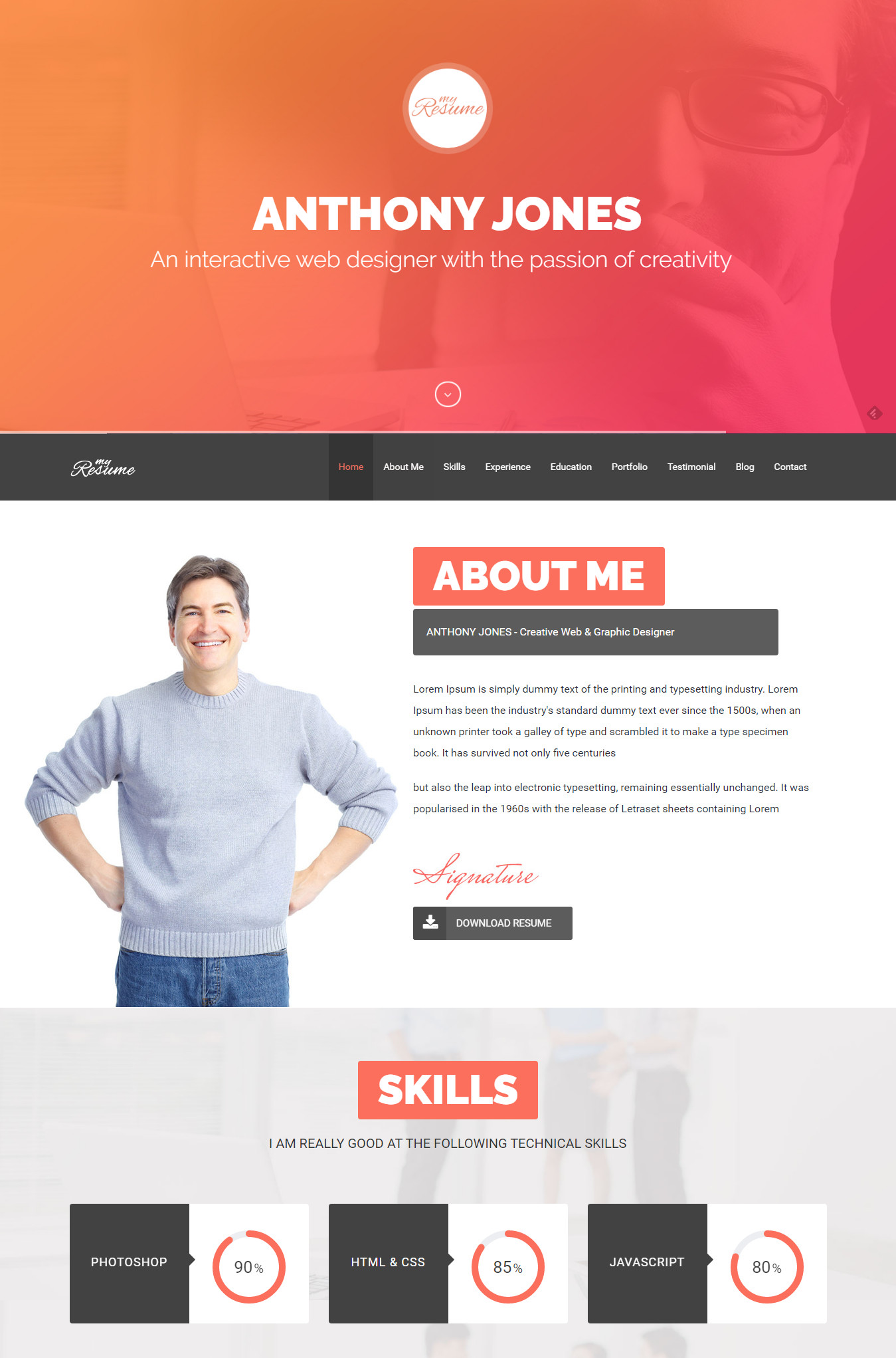 resumex multipurpose resume one page portfolio - Resume Web Template